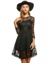 Women Casual 3/4 Sleeve Hollow Out Solid O Neck Pullover Lace Dress