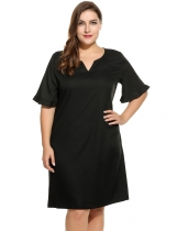 Women's Notch Neck Flare Sleeve Solid Casual Shift Dress Plus Size