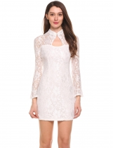 White Trumpet Sleeves O Neck Pullover Floral Lace Cheongsam Mini Pencil Dress