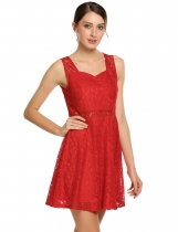 Red Sleeveless Lace Pentagon Neck Slim Dress