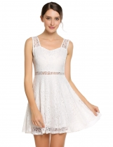 White Sleeveless Lace Pentagon Neck Slim Dress