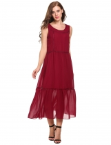 Wine red Bohemian Sleeveless Crochet Chiffon Maxi Casual Dress