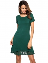 Dark green O-Neck Short Sleeve Lace-Trim Ruffled Short Dress