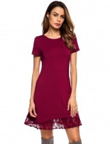 Wine red O-Neck Short Sleeve Lace-Trim Ruffled Short Dress
