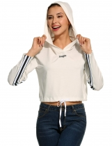 White Long Sleeve Drawstring Hem Pullover Hooded Crop Hoodie Sweatshirt
