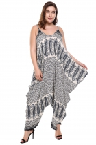 Black Spaghetti Strap Sleeveless Print Loose Irregular Hem Jumpsuit