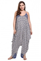 Blue Spaghetti Strap Sleeveless Print Loose Irregular Hem Jumpsuit