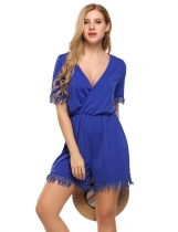 Blue Plus Size Deep V-Neck Short Sleeve Lace Trim Solid Romper