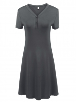 Dark Grey Short Sleeve Solid V Neck A-Line Dress