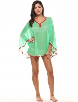Green Sunscreen V-Neck Solid Slim Contrast Color Beach Bikini Cover-up