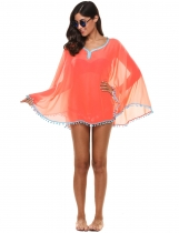 Różowy New Women Casual Sunscreen V-Neck Solid Slim Contrast Color Beach Bikini Cover-up
