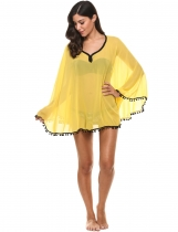 Yellow Sunscreen V-Neck Solid Slim Contrast Color Beach Bikini Cover-up