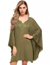 Army green Bat Sleeve Lace Patchwork Pom Pom Trim Dress