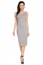 Gray One Shoulder Flowers Padded Ruffles Cocktail Party Dress