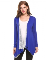 Blue Open Front Long Sleeve Irregular Hem Lace Patchwork Cardigans