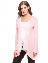 Pink Open Front Long Sleeve Irregular Hem Lace Patchwork Cardigans