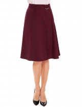 Wine red High Waist Solid Adjustable Belted Wrap Flared Skirt