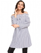 Dark blue Stripes Off the Shoulder Long Sleeve Tunic Top
