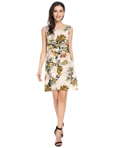 Beige Floral Tie Back Sleeveless A-Line Short Dress