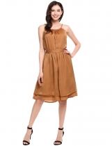 Brown Sleeveless Spaghetti Strap Solid Wide Leg Rompers