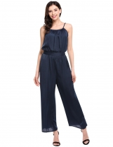 Navy blue Sleeveless Spaghetti Strap Solid Wide Leg Long Cami Jumpsuit with Belt