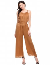 Brown Sleeveless Spaghetti Strap Solid Wide Leg Long Cami Jumpsuit with Belt
