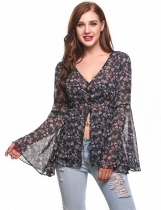 Bleu foncé Women V-Neck Bell Sleeve Floral Print Button Down Chiffon Blouse