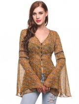 Yellow V-Neck Bell Sleeve Floral Print Button Down Chiffon Blouse