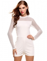 White Stand Collar Long Sleeve Net Patchwork Hollow Out Elastic Slim Rompers