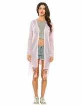 Pink Long Sleeve Open Stitch Solid Tassel Hem Cardigan