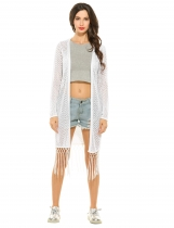 White Long Sleeve Open Stitch Solid Tassel Hem Cardigan