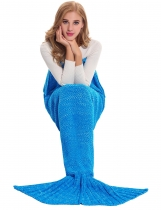 Blue Fashion 100% Acrylic Knitted Warm Tail For Adults and Kids Mermaid Blanket