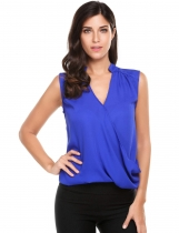 Dark blue Cross Front Pleated Sleeveless V Neck Solid Pullover Blouse