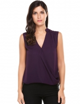 Purple Cross Front Pleated Sleeveless V Neck Solid Pullover Blouse