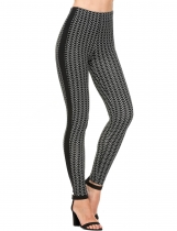 Black white stripe Casual Slim High Waist High Stretch Leggings