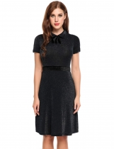 Negro Mujeres Peter Pan Collar Bow manga corta Glitter Cocktail Party A-Line Dress