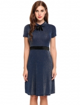 Azul marino Mujeres Peter Pan Collar Bow manga corta Glitter Cocktail Party A-Line Dress