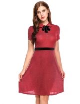 Rojo Mujeres Peter Pan Collar Bow manga corta Glitter Cocktail Party A-Line Dress