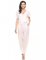 White V-Neck Short Sleeve Solid Chiffon Drawstring Jumpsuit with Pockets
