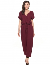 Wine red V-Neck Short Sleeve Solid Chiffon Drawstring Jumpsuit with Pockets