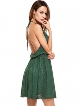 Dark green Casual Sleeveless Halter Pullover Backless Tunic Dress