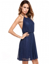 Navy blue Femmes Casual sans manches Halter Pullover Backless Tunic Dress