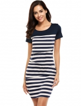 Blue Stripes Short Sleeve O Neck Pencil Lactation Dress