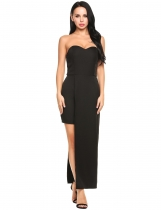 Black Strapless Off Shoulder Padded Asymmetrical Bodycon Party Dress