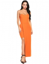 Orange Strapless Off Shoulder Padded Asymmetrical Bodycon Party Dress