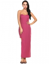 Rose red Strapless Off Shoulder Padded Asymmetrical Bodycon Party Dress