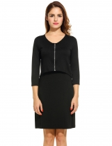 Black Women's V-Neck 3/4 Sleeve Zip Front Fake 2 Pieces Bodycon Casual Dresses
