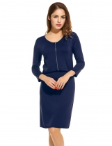 Bleu marine Femmes V-Neck 3/4 Sleeve Zip Front Fake 2 pièces Bodycon Casual Robes