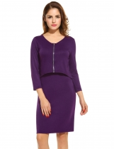 Purple Women's V-Neck 3/4 Sleeve Zip Front Fake 2 Pieces Bodycon Casual Dresses