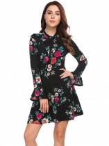 Black green Vintage Style Long Flare Sleeve Floral Dress
